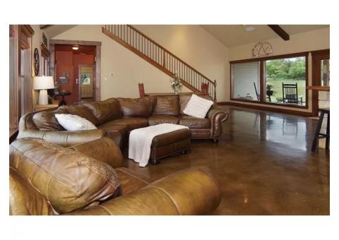 Rustic Tooled Leather Sectional Sofa, Chair & Ottoman