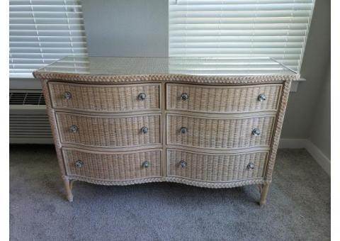 Glass Top Wicker/Wood Dresser